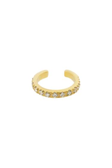 BOUCLE D'OREILLE PHI OR JAUNE DIAMANTS BLANCS